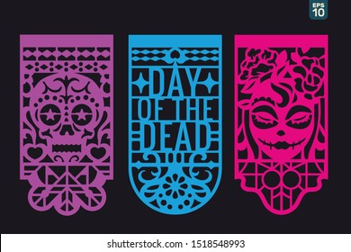 Dia de los muertos mean Day of the Dead celebration. Traditional Mexican paper cutting flags