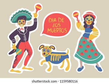 Dia de los muertos. Mexican day of dead.  Man, woman and dog with skulls heads. Vector template. Isolated.