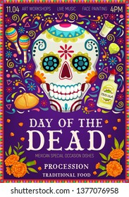 Dia de los Muertos Mexican holiday greetings and Day of Dead celebration symbols. Vector Dia de los Muertos traditional calavera skull with floral pattern, tequila with maracas and marigold flowers