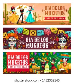 Dia de los Muertos, Mexican day of dead celebration. Vector dancing skeletons on graveyard, calavera skulls or catrina heads. Man in sombrero and woman in dresses, tequila and maracas, cactuses
