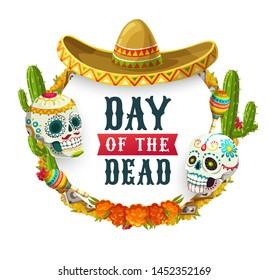Dia de los Muertos, Mexican Day of Dead fiesta party poster. Vector Day of Dead holiday in Mexico, catrina calavera skulls with sombrero, maracas, marigold flowers wreath and altar photos