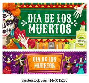 Dia de los Muertos, Mexican Day of Dead fiesta, catrina calavera skeletons in sombrero play maracas and dance. Vector Day of Dead celebration, Mexico flags, marigold flowers and tequila on altar