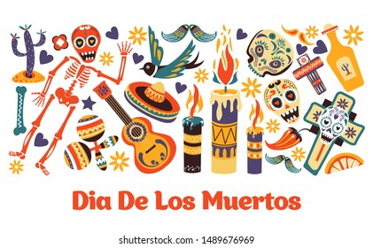 Dia de Los Muertos, Mexican event or fiesta, party and holiday greeting card vector. Cactus and skeleton, maracas and Spanish guitar, sombrero. Bird and candles, chili pepper and cross, tequila bottle