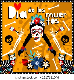 Dia de los muertos, mexican day of dead poster with girl skull, bones and flowers on orange background, vector illustration