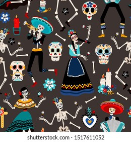 Dia de los muertos, mexican day of the dead pattern with skulls, skeletons and flowers, vector illustration