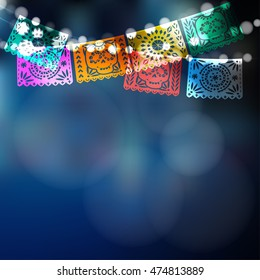 Dia de Los Muertos, Mexican Day of the Dead card, invitation. Party decoration, string of lights, handmade cut paper flags, skull, floral decor. Vector illustration blurred background.