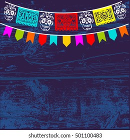 Dia de Los Muertos, Mexican Day of the Dead background with paper cut flags, vector illustration.