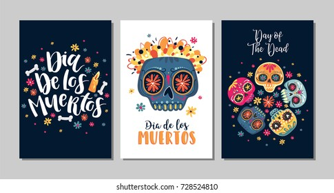 Dia de Los Muertos, Mexican Day of the Dead, set of greeting cards with hand drawn lettering, flowers, skulls on dark blue and white background