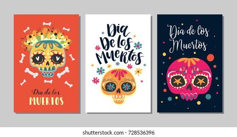 Dia de Los Muertos, Mexican Day of the Dead, set of greeting cards with hand drawn lettering, flowers, skulls on dark blue, orange and white background