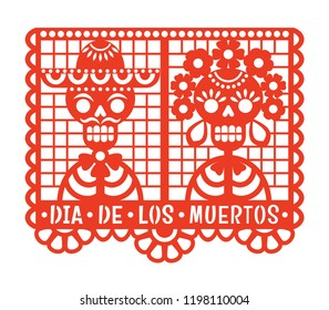 Dia de los Muertos. Papel Picado. Vector illustration of traditional Mexican paper cutting with Mariachi and Cartina skeletons. Isolated on white.