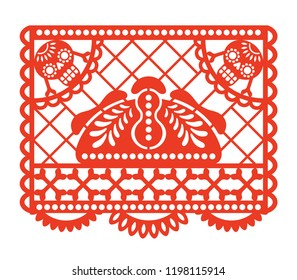 Dia de los Muertos. Papel Picado. Vector illustration of traditional Mexican paper cutting with bread of the dead, skulls and bones. Isolated on white.