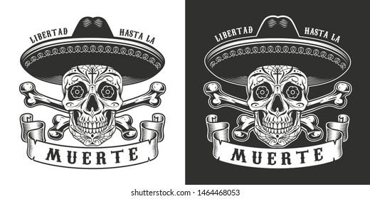 Dia De Los Muertos print with sugar skull in sombrero hat and crossbones in vintage monochrome style isolated vector illustration