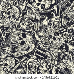 Dia De Los Muertos seamless pattern with sugar skulls trumpets candles roses religious crosses angel wings cactuses tequila bottles in vintage monochrome style vector illustration