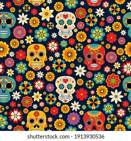 Dia de los muertos seamless vector pattern. Mexican Day of the Dead mariachi and Catrina with sombrero, maracas and marigold flowers, cactus, candles and bunting
