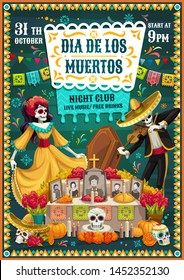Dia de los Muertos skeletons dancing near Day of the Dead altar, Mexican party vector invitation. Tombstone with sugar skulls, Catrina and mariachi skeleton, sombrero, marigold flower and flag garland