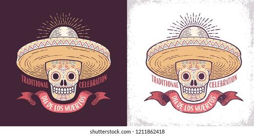 Dia de los muertos sugar skull symbol in sombrero retro illustration. Day of the Dead is a Mexican holiday. Worn texture on separate layer.