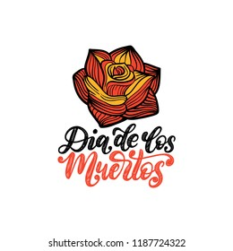 Dia De Los Muertos translated from Spanish Day of the Dead handwritten phrase. Vector illustration of rose on white background. Design concept for party invitation, greeting card.