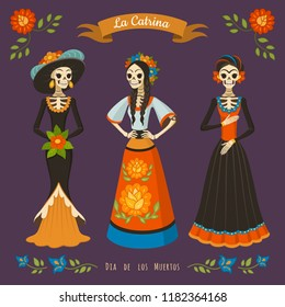 Dia de los muertos. Vector illustration of Mexican cartoon Catrinas in different costumes and dresses. Isolated on dark violet background.