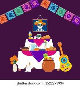 Autel de Dia de muertos, différents éléments d'autel, nourriture, boissons, fleurs de cempasuchil, bougies, crâne à sucre, guitare sur fond violet