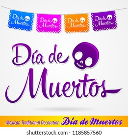 Dia de Muertos, Day of the death spanish text vector lettering and decoration
