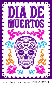 Dia de Muertos, Day of the death spanish text colorful vector decoration design
