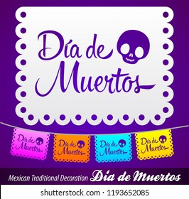 Dia de Muertos, Day of the death spanish text vector lettering decoration