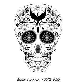 Dia de Muertos FULL. Illustration of traditional Mexican skull with lots of ornaments and Phoenix to the Day of The Dead. Black white colors. contour. Vector Illustration