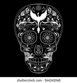 Dia de Muertos FULL inverse. Illustration of traditional Mexican skull with lots of ornaments and Phoenix to the Day of The Dead. Black white colors. contour. Vector Illustration