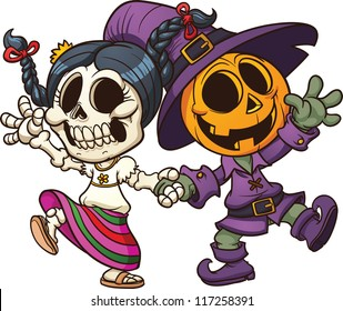 Dia de muertos and Halloween characters holding hands. Vector clip art illustration with simple gradients. All in a single layer.