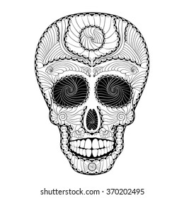 Dia de Muertos. Illustration of traditional Mexican skull with lots of hypnotic ornaments to the Day of The Dead. Black white colors. contour. Vector Illustration