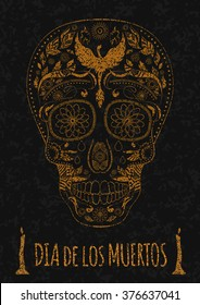 Dia de Muertos. Illustration of traditional Mexican skull with lots of hypnotic ornaments to the Day of The Dead on the stone texture. monochrome. contour. Flyer Template. Vector Illustration