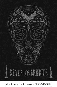 Dia de Muertos. Illustration of traditional Mexican skull with lots of hypnotic ornaments and phoenix Day of The Dead on the stone texture. monochrome. contour. Flyer Template. Vector Illustration