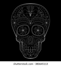 Dia de Muertos. Illustration of traditional Mexican skull with lots of hypnotic ornaments and with cobra to the Day of The Dead. Black white colors. contour. Vector Illustration