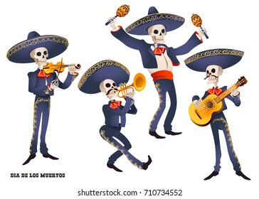 Dia de Muertos. Mariachi band musician of skeletons. Mexican tradition. Vector illustration