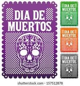Dia de Muertos - Mexican Day of the death spanish text vector decoration set