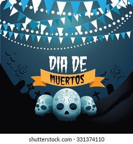 Dia de Muertos (Mexican Day of the dead) skulls and bunting design EPS 10 vector