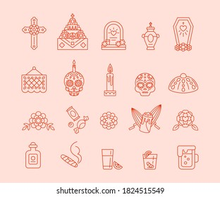 Dia de Muertos - Set of outline icons. Day of The Dead - traditional Calavera symbols. Bread Pan de Muertos, paper flag Papel picado, sugar skull, home altar ofrenda, mexican christian cross and more