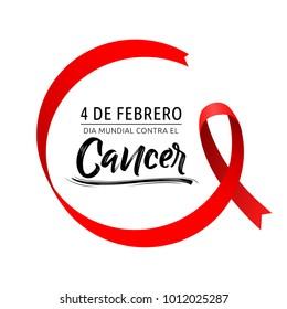 Dia mundial contra el Cancer 4 de Febrero, World day against Cancer february 4 spanish text, circular ribbon vector illustration
