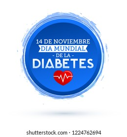 Dia mundial de la Diabetes, World Diabetes Day 14 november spanish text. vector Diabetes blue circle symbol, emblem, icon.