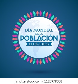 Dia Mundial de la Poblacion julio 11, World Population Day july 11 spanish text vector design emblem