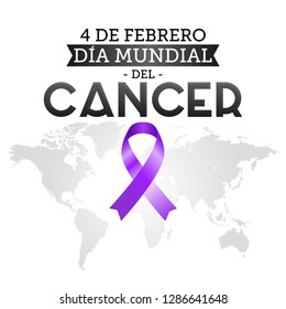Dia mundial del Cancer, World Cancer Day 4 february spanish text. Ribbon and world map vector illustration