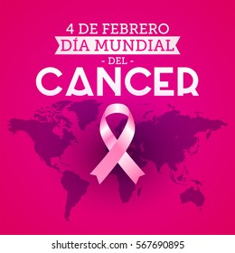 Dia mundial del Cancer - World Cancer Day 4 february spanish text. Pink ribbon with colors hands up background, vector illustration