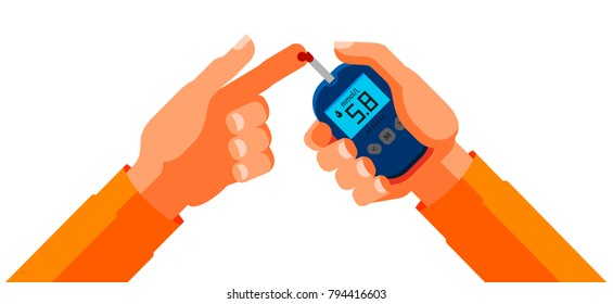 Diabetes, blood glucose test. Medicine, health concept. Cartoon vector illustration