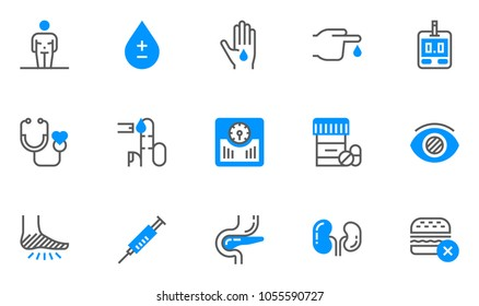 Diabetes and Blood Sugar Measurement Flat Line Icons Set. Obesity, Healthy Diet, Blood Test. Editable Stroke. 48x48 Pixel Perfect.