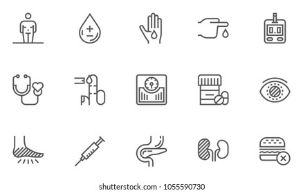 Diabetes and Blood Sugar Measurement Line Icons Set. Obesity, Healthy Diet, Blood Test. Editable Stroke. 48x48 Pixel Perfect.