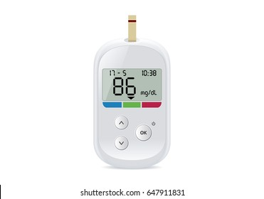 Diabetes check machine white color have a digital screen. Illustration about medical device for blood glucose levels test.