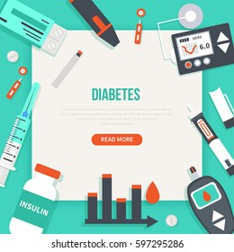 Diabetes concept banner. Vector medical illustrations.