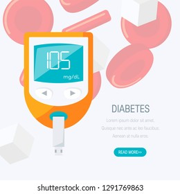 Diabetes concept. Design with blood glucose monitor. Vector illustration in flat style