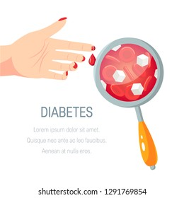 Diabetes concept. Examination of blood with high glucose level. Vector illustration in flat style