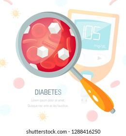 Diabetes concept. Glucose between blood cells. Vector illustration in flat style